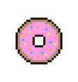 pixel donut sticker vector image vector image