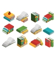School Books Isometric Icon Set vector image