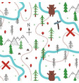 seamless doodle forest pattern vector image vector image