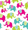 Seamless retro elephant pattern vector image