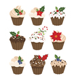 set christmas muffins vector image vector image