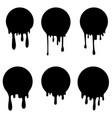 Set circles with ink splashes design element