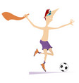 smiling young man playing football isolated vector image vector image