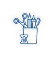 stationery set line icon concept stationery set vector image
