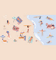 summer beach with people men and women doing vector image vector image