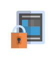 tablet with lock icon media network data vector image vector image