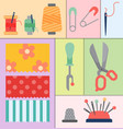 thread supplies accessories sewing equipment vector image