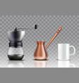 turkish coffee set realistic vector image