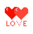 two pixel hearts with love on a white background vector image vector image