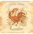 Vintage card with Chinese zodiac - Rooster vector image