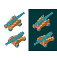 vintage naval cannon isometric color drawings vector image