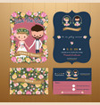 vintage rustic blossom flowers cartoon couple vector image vector image