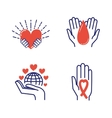 Volunteer donate icons set vector image vector image