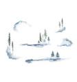 watercolor set forest winter landscapes vector image