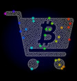 wire frame mesh bitcoin webshop with vector image vector image