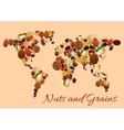 World map made up of nuts seed and grains