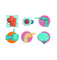 artificial intelligence icons set robotic vector image