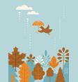 autumn banner card bird flying with umbrella vector image vector image