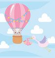 baby shower flying sork with little girl vector image vector image