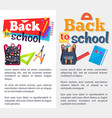 back to school set of stickers on white and grey vector image vector image