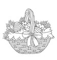 basket with easter eggs and flowers outlined vector image vector image