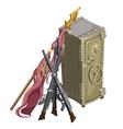 Big old safety deposit box vintage guns and flag vector image vector image