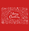 big set of christmas design doodle elements 3 vector image vector image