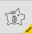 black line piggy bank bitcoin icon isolated on vector image vector image