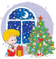 Boy with a Christmas gift vector image vector image