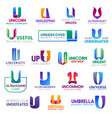 business icons letter u corporate identity vector image vector image