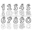 cartoon numbers set coloring book page with fruits vector image vector image