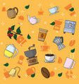 coffee and tea pattern background vector image
