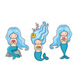 collection of cute little mermaids with blue hair vector image