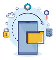 data center set flat icons vector image vector image