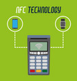 dataphone technology with smartphone and vector image vector image