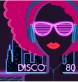 Disco 80s Girl with Headphones vector image