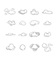 doodle big set hand drawn clouds vector image