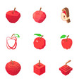 faceted apple icons set isometric style vector image vector image