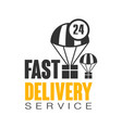 fast delivery service 24 hours logo design vector image vector image