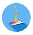 flat isometric a coin dropping it into a vector image