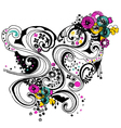 floral heart scroll decorative pattern vector image