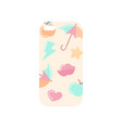 girlish light beige phone cover with colorful vector image vector image