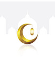 gold crescent moon and lantern on the white clean vector image