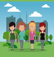 group female park city background vector image vector image