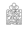 holiday gift card with hand lettering merry vector image