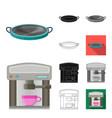kitchen equipment cartoonblackflatmonochrome vector image