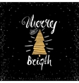 Merry bright trendy card template Vintage hand vector image vector image