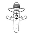 mexican cactus with hat emoji character vector image vector image