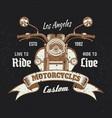motorcycle front view vintage emblem on dark vector image vector image