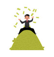 office worker sitting on money pile vector image vector image